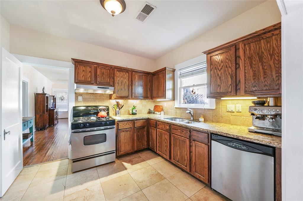 Stainless gas range, ss dishwasher and granite counter-tops accentuate the updated feel of this kitchen.