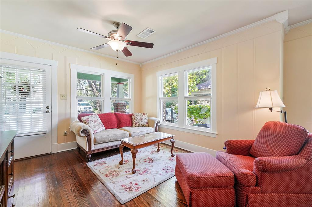 The handsome wood floors help make this an attractive living/family area.
