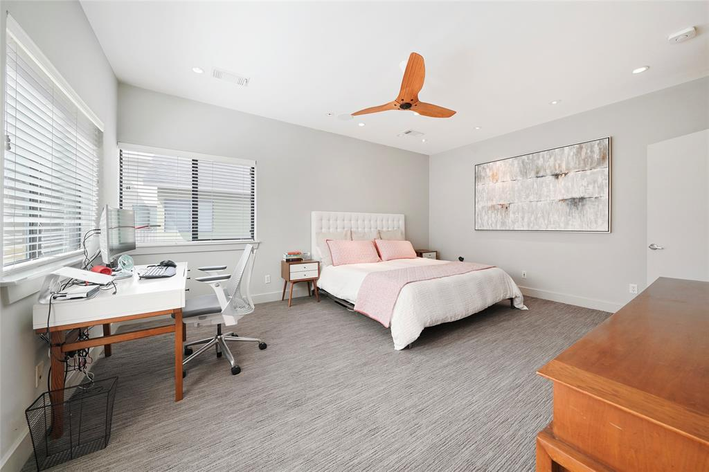 The huge master suite features upgraded carpet, walk-in closet and a modern color palette.