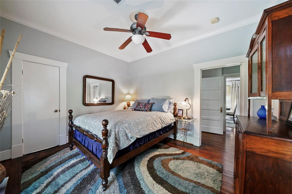 The master bedroom also features wood floors and great closet space.