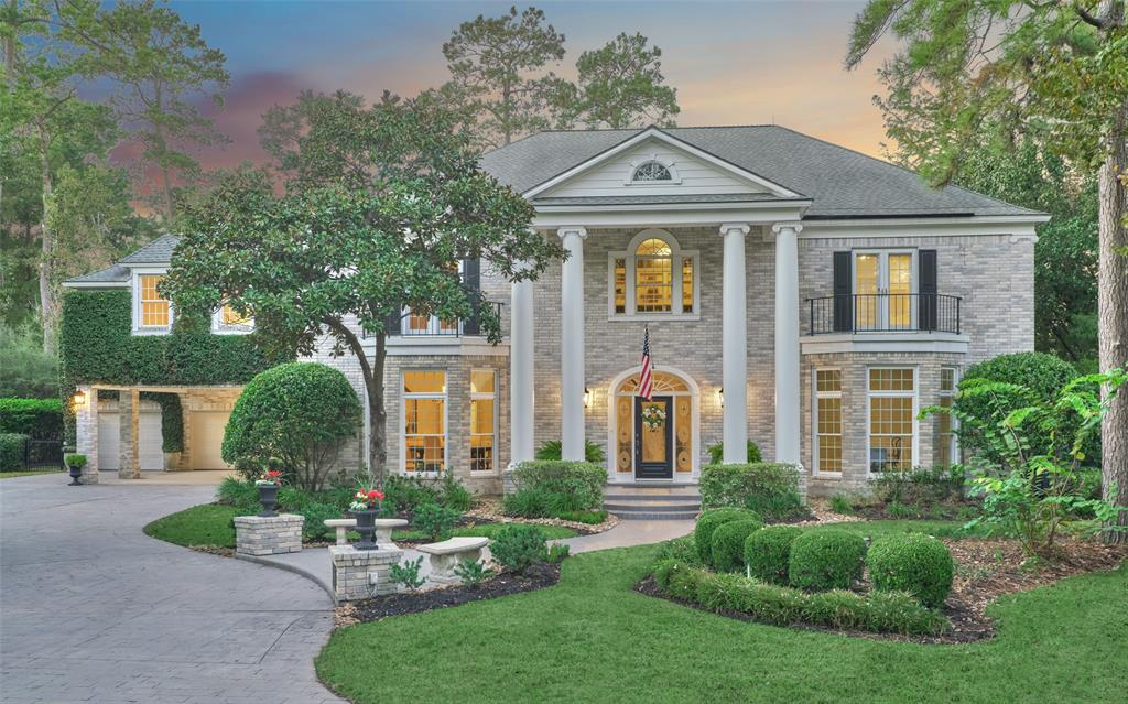 Come home to a place where the natural splendor of a forest & the manicured charm of a fairway exists…welcome to the timeless design of this Georgian-style estate on almost 1/2 acre lake front lot overlooking the 3rd hole of The Tournament Course on The Woodlands CC. Watch various renown golf tournaments or sip lemonade enjoying the thrill of the 4th of July fireworks display from the extensive two level balcony & veranda w/ the perfect view. Each room purposely designed to host all your discerning guests/family. Impeccable attention to detail. Master suite is a perfect get-away. Extensive storage. Laundry on each floor. Sizable game room. Private guest quarters. Pool/spa/fire pit. Gated play yard / dog run. 2019 carpet/paint. Minutes to Town Center, multiple top-tier hospitals, I45, walk to Cynthia Woods Mitchell Pavilion or Market Street, 20 min to IAH, & extensive culinary selections. Coveted location in Grogan's Mill. Get to know all the hidden gems this home has to offer.