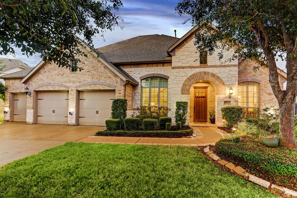 Enjoy serenity and space in this luxurious 4BD/3.5BA featuring a huge landscaped lot and swimming pool in Sugar Land's acclaimed Telfair community. This 3,375SF abode features custom moldings, soaring ceilings, hardwood floors and Hunter Douglas window coverings. The dramatic entry opens to formal living and dining rooms. The massive chef's kitchen features granite countertops, an island/breakfast bar, sunroom and top-notch stainless steel appliances. The living room boasts a massive stone fireplace, and there's a large study and powder room nearby. Outside, a travertine patio leads to a new heated pool and large lawn. Main floor master suite downstairs. Upstairs, there's another suite, two more beds that share a third full bath, and a den that opens to a media room. Enjoy great curb appeal and a three-car garage in this updated home. The community includes walking trails and waterways, pools, playground and tennis courts. Close to Sugar Land Town Square and First Colony Mall.