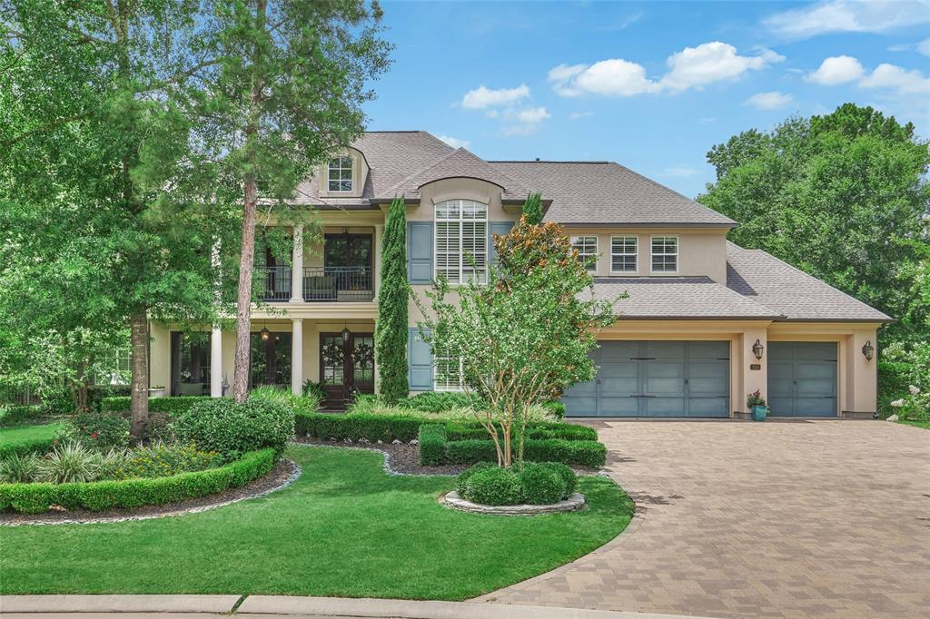 LIVE IN PERSON OPEN HOUSE THIS SATURDAY, May 30th from12:00-2:00. Call agent for gate entrance code. All precautions will be taken so feel welcome to come! Exquisite French-inspired Jeff Paul Custom Home on large private, pie-shaped lot in the exclusive gated enclave of Eagle Pointe in Woodforest! This home exudes refined elegance from the moment you walk up to the front porch w/gas lanterns & double door entry. 2 story living room open to kitchen w/views of pool. Formal Dining has groin ceiling w/hand painted details & bricked wine grotto. Downstairs media room can be used as a 2nd study or 3rd bedroom down. Pool Bath has walk in shower. Master privately located, beautiful spa like bath w/sparkling chandelier & huge walk in closet. Upstairs Game Room & bonus room that can be 2nd media, guest room. True side-by-side 3 car garage. HUGE Backyard has expansive outdoor living spaces w/summer kitchen, grill, fireplace, firepit, putting green, trees that create private oasis!