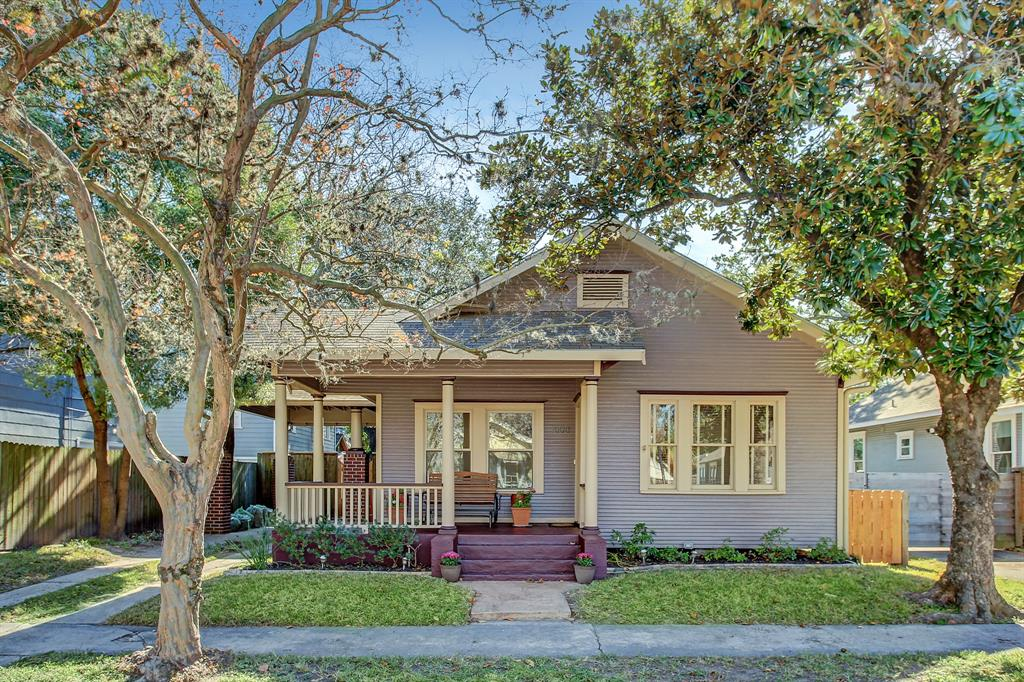 This classic Heights bungalow has a lovely front porch with room for comfy furniture.