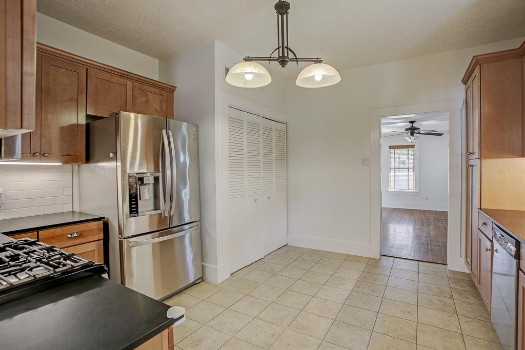 The kitchen leads directly to the family room at the back of the property.