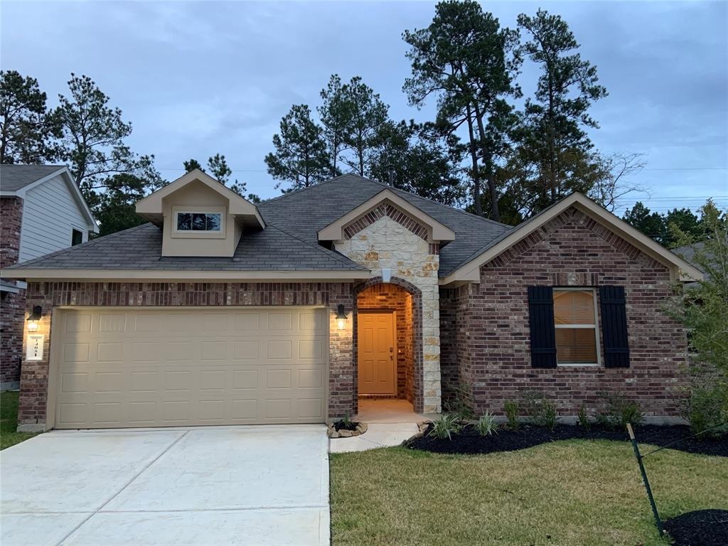 Beautiful NEW DR Horton home in Fosters Ridge zoned to The Woodlands schools!  This spacious one story has  Four bedrooms, modern finishes, open living spaces, stainless steel appliances by Frigidare, washer, dryer, refrigerator, covered back patio, sprinkler system, tankless water heater, and so much more! Fosters Ridge is in an excellent location! Hurry and call TODAY for your appointment!