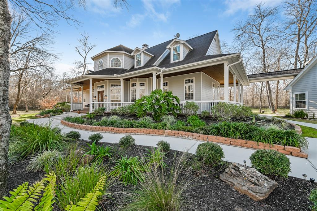 Gorgeous custom home located on a prime 2.08 acre cul de sac lot on a quiet tree lined street in the prestigious acreage estate community of Fulbrook. Private electronic gate gives entry to the wooded property backing to nature preserve on two sides.  A beautiful, wide porch with teak deck and stained raised ceiling follows the entire perimeter of the home and has a gazebo with new 6 person spa.  Double entry doors open to an impressive two story grand entry foyer. High ceilings and plenty of natural light flow throughout the home and provide lovely outdoor scenic views from each room. In the main house you will find 4 beds, 3.5 baths, formal dining, executive library, two gas fireplaces, game room with 2nd floor balcony and a separate media room for those cozy family movie nights.  The detached 3 car garage has two workshop areas and an amazing flex space above with full bath.  Too many extra features to list – you must see in person to appreciate! Call for your private showing today!