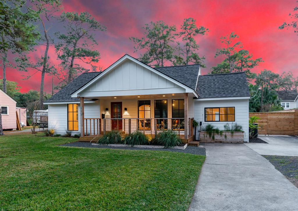 This original 1940's home that has been remodeled is located in the highly desirable Garden Oaks neighborhood and sits on a 12,262 square foot lot (per HCAD). The home has been reconfigured from the original floor plan to an open spacious floor plan. The updated kitchen is open to the dining room with quartz countertops, custom cabinets with upgraded hardware and large farm sink. The home has a large master suite, large master bath with his and her vanity, stand up shower and large walk-in master closet. The living room has beautiful huge windows that bring in a great deal of natural light and look out onto a covered porch. The home's second and third bedrooms are very spacious with guest bath that has been remodeled and updated. The backyard is beautifully landscaped with a wooden deck, large oversized 2 car detached garage with workshop and enough space for a pool. This home is sectioned to Garden Oaks Elementary School.