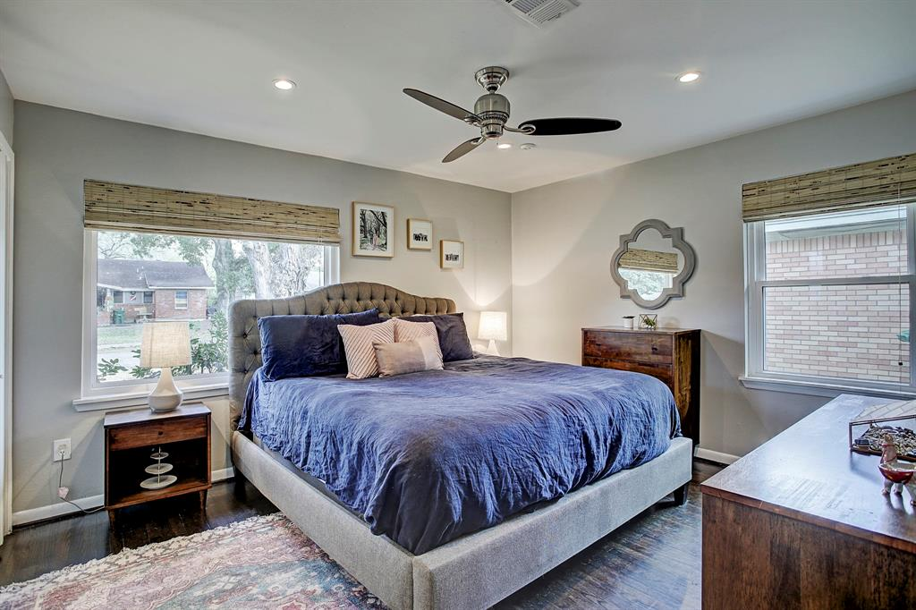 Master bedroom features a picture window that lets light flow in, new window shades with blackout backing, and plenty of room for a King sized bed.