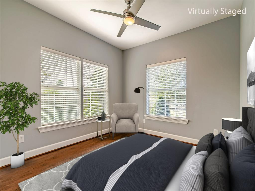 Secondary bedroom with nice size closet. (Virtually Staged)