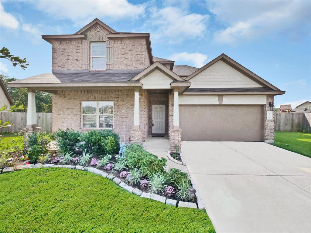 Welcome Home! Bonbrook Plantation, a great family community near Brazos town center and 59. Features a recreation center, pool, water front housing, Highly Rated Schools, and plenty of sidewalk space for your morning run. Built in 2016 on large cul-de-sac lot with backyard that has plenty room for your new custom pool and family pet. Home contains 4 spacious bedrooms with a BONUS BEDROOM/STUDY on the first floor. Kitchen features dark cabinets, island with double sink, stainless steel appliances, and gorgeous granite countertops.  Beautiful 2 story high ceilings in living area with master bedroom on 1st floor. Walk up stairs to a large game room, with view down to living room, windows, and an extra storage closet. Upstairs features 3 bedrooms with 1 full bathroom. Exterior features shaded front porch as well as shaded cover patio in backyard. Tile through living room, kitchen, dining room, and bathrooms. Carpeted bedrooms, stairs, and gameroom upstairs. View it today!