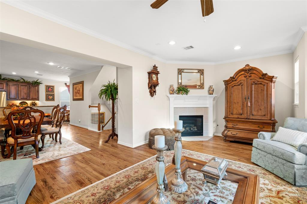Another view of the living space with fireplace.  This spacious area is perfect for relaxing with your family or watching the big game.