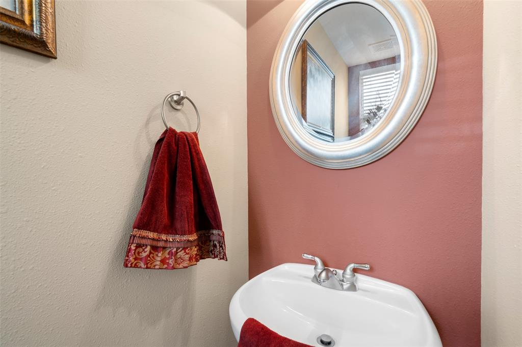 Half bath on the second floor is perfect for guests.