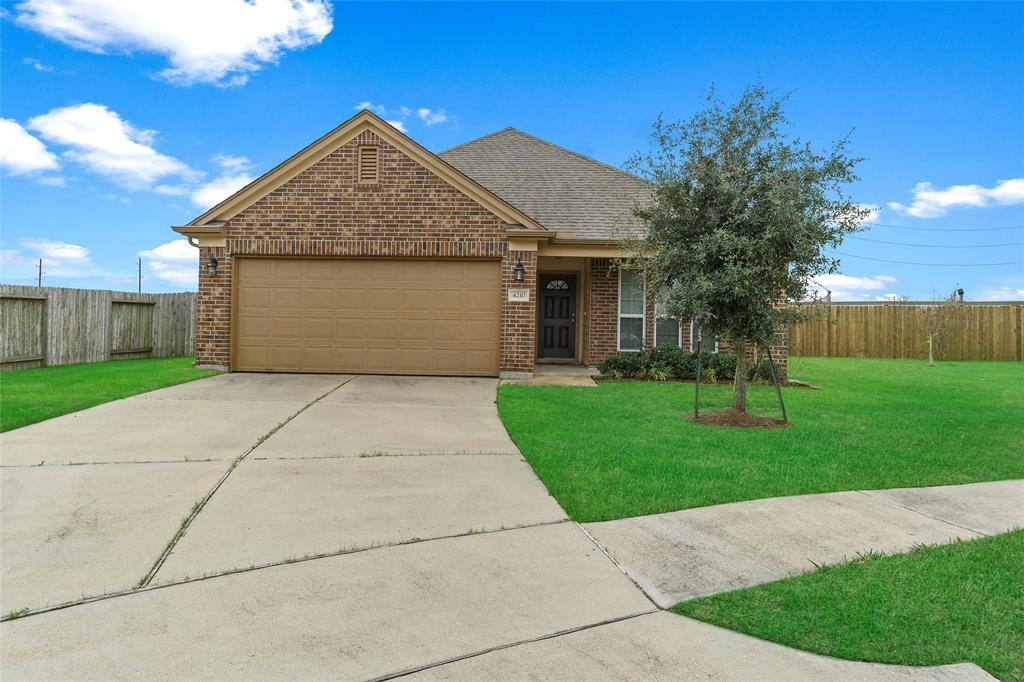 Newer home in Rosenberg on a cul-de-sac lot. Sellers have not had pets on this property and are non-smokers. Perfect as a starter home. Natural light pours in the open space between the living room, dining area and kitchen. The walkthrough utility room could also serve as a mudroom. Enjoy a glass of iced tea on the large front porch this summer. Spacious master suite has a large tub with a separate shower, toilet closet and a walk-in closet. Buyer to verify room dimensions.