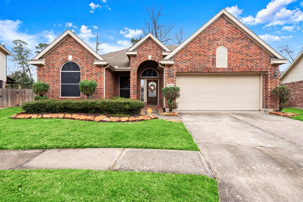 One story with 3 bedrooms and 2 full bathrooms. It has a nice open floor plan with lots of natural light. Kitchen is open to living room and dining room. It has a gas range and the refrigerator is included. Living, dining and entry have wood floors. Living room is large with a fireplace. The master bedroom is spacious and the bathroom has double sinks and walk in closet. On the other side of the home there are two guest bedrooms with a shared bathroom. Klein ISD schools and quick access to Grand parkway and I45.A/C was replaced in 2016. Water Heater replaced in 2015 by previous owners