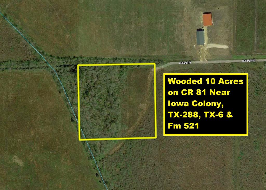 Wooded 10 Acres on CR 81/Bullard Rd near TX-288, FM 521, TX-6 & Iowa Colony. Property is centrally located between FM 521 & TX-288, South of TX-6/Iowa Colony and West of CR 48 & CR 383. Property is two thirds heavily wooded. CR 81/Bullard Rd west of CR 383 is a dirt road that is a right-of-way running along the northern boundary of the property (see survey). The property lies outside of any city limits, and per the Brazoria County ETJ Map, it is just outside of the Extraterritorial Jurisdiction (ETJ) of the City of Iowa Colony. All development and platting will be subject to Brazoria County Drainage District & Codes. No water or sewer available. Well & septic system will need to be installed. Availability of electricity will need to be confirmed. Future Grand Parkway/TX-99 will cross TX-288 at CR 60 which is 7 miles South of Property. Perfect location for single-family homes with acreage. Easy Access to Downtown Houston, Texas Medical Center & Hobby Airport about 20 miles.