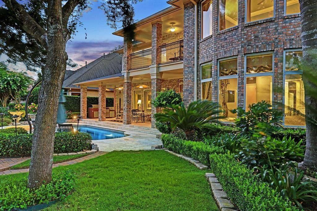 Stunning home in guard-gated Royal Oaks CC overlooking the 10th fairway & views the 18th fairway. Beautifully decorated & well-maintained, with many upgraded features throughout. Dramatic 2-story ceiling height in many areas of this well-designed open floor plan, with two staircases, designed for comfortable living & gracious entertaining. This fine home features formal living & dining rooms, study, 2-story family room, large game room & a private media room. Gourmet island kitchen with handsome wood cabinetry, granite counters, updated stainless appliances. Spacious master suite down – elegant bath with jetted tub, separate shower, double vanities – California Closet fittings in spacious walk-in closet. 2nd master-sized suite upstairs plus additional secondary bedrooms. Library wall upstairs overlooking 2-story family room leads to large covered balcony overlooking backyard & golf course. Backyard paradise with heated pool, covered terrace, summer kitchen.