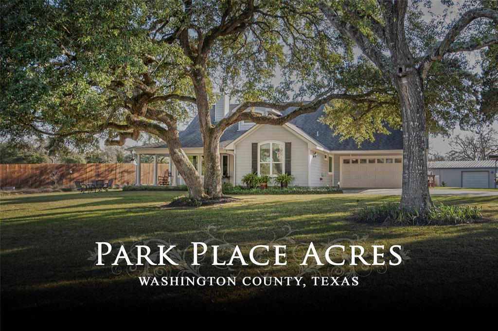 Approx. 8.44 acres of park-like scenery that is perfect for the avid fisherman and equestrian.  Enter property on slightly curved and meandering driveway along the lakeside that leads up to home overlooking lake. Home features 2 large bedrooms, 2 bathrooms, formal dining, front & back living rooms, open kitchen design, large front porch, two car garage and carport .  Other improvements include: Trailer & boat storage barn with water-septic connections for RV or Horse Trailer with living quarters; Universal horse barn with office/tackroom, feed-hay storage room, removable stalls, and wash/groom rack area; Well House with office; and Work Shop Building. Enjoy warm summer days in the swimming pool, on the patio or fishing in the stocked aerated lake (approx. 1.25 acres).  The wooded area is great for wildlife habitat and has riding-walking trails along lake area. Located in close proximity to Brenham & College Station, TX and only minutes from Lake Somerville.