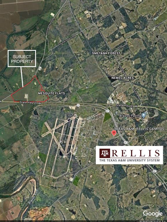 166.47 ACRES LOCATED .75 MILES FROM THE NEW TEXAS A&M RELLIS CAMPUS ON STATE HIGHWAY 21. UNRESTRICTED LAND READY FOR DEVELOPMENT/INVESTMENT IN QUICKLY DEVELOPING AREA OF BRYAN/COLLEGE STATION.  SITUATED BETWEEN TWO MAJOR THOROUGHFARES: STATE HIGHWAY 21 & TEXAS OSR. THE TRAFFIC COUNT IN THIS AREA IS APPROX 13,500 VEHICLES PER DAY.  PROPERTY HAS APPROX 3550 FEET OF ROAD FRONTAGE WITH 3 CROSSOVERS ALONG HIGHWAY 21, APPROX 3855 ALONG FAZZINO LANE AND APPROX 3780 ALONG TEXAS OSR.