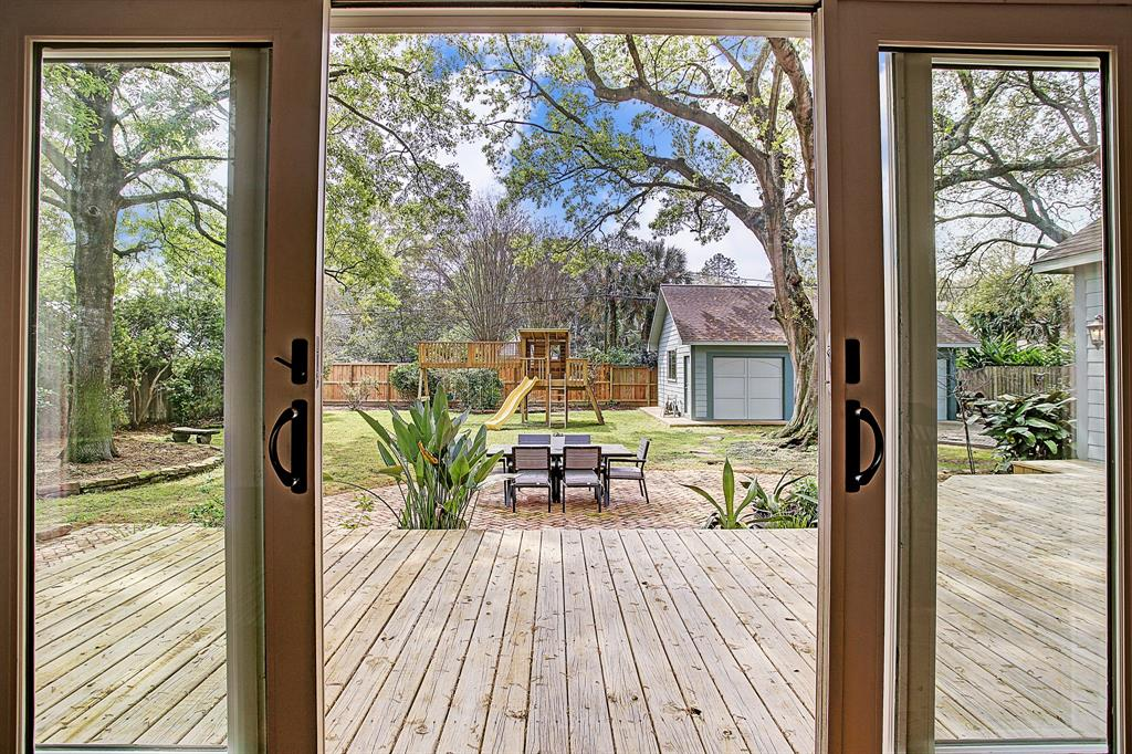 Now to the back yard oasis, through the sliding doors in the den.