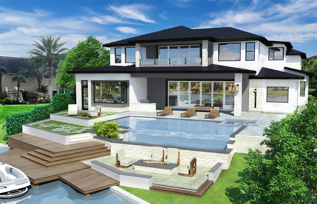 This stunning waterfront estate home by esteemed builder/architect/artist Todd Sabbagh defines a perfect luxury balance for his/her designs & wants. Guests are greeted w/an incredible elevation & unique water feature. Inside find soaring ceilings, awe-inspiring staircase, 2 master retreats & high-end epicurean kitchen w/commercial grade appliances, cavernous storage & a built-in kitchen office. Media room will provide opulence to every sporting/media event. Designer touches everywhere:granite window sills, innovative wine room, breathtaking gaming/entertainment spaces. Every Sabbagh designed bedroom is unique. Unparalleled home lighting system will dazzle everyone. Breathtaking views of infinity pool seem to flow into a sparkling lake. The large covered back patio, outdoor kitchen, fire-pit, Pier & multi-tiered backyard make this home ideal for outdoor events. Todd homes are never repeated; each home is a separate work of art designed specifically for the special features of the site.