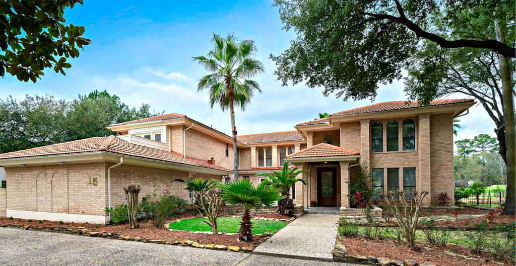 Ideal location at the front of The Woodlands, this unique property is convenient to I-45, hospitals, Exxon campus, shopping, dining & endless recreation & entertainment. Situated in coveted Grogans Mill, an entertainers delight w/exceptional Golf Course views, large living spaces & an indoor pool - enjoy swimming year round in your personal space, on your own time! 2-story entry opens to a formal dining area & large study. The kitchen & breakfast area take in views of the gardens & golf course while an expansive great room w/fireplace is open to the downstairs game room & pool. Guest or flex room down w/en-suite bath & private entry from the driveway.  Upstairs living offers a huge master suite w/attached study. His/Her over-sized closet w/beautiful built-ins, dual vanities, separate make-up counter, soaking tub & seamless glass walk-in shower. Add'l features include 3 spacious bedrooms all with en-suite baths. A second spiral staircase is convenient to the laundry, great room & pool.