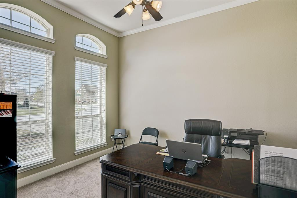 Private office with french doors at the front of the house.