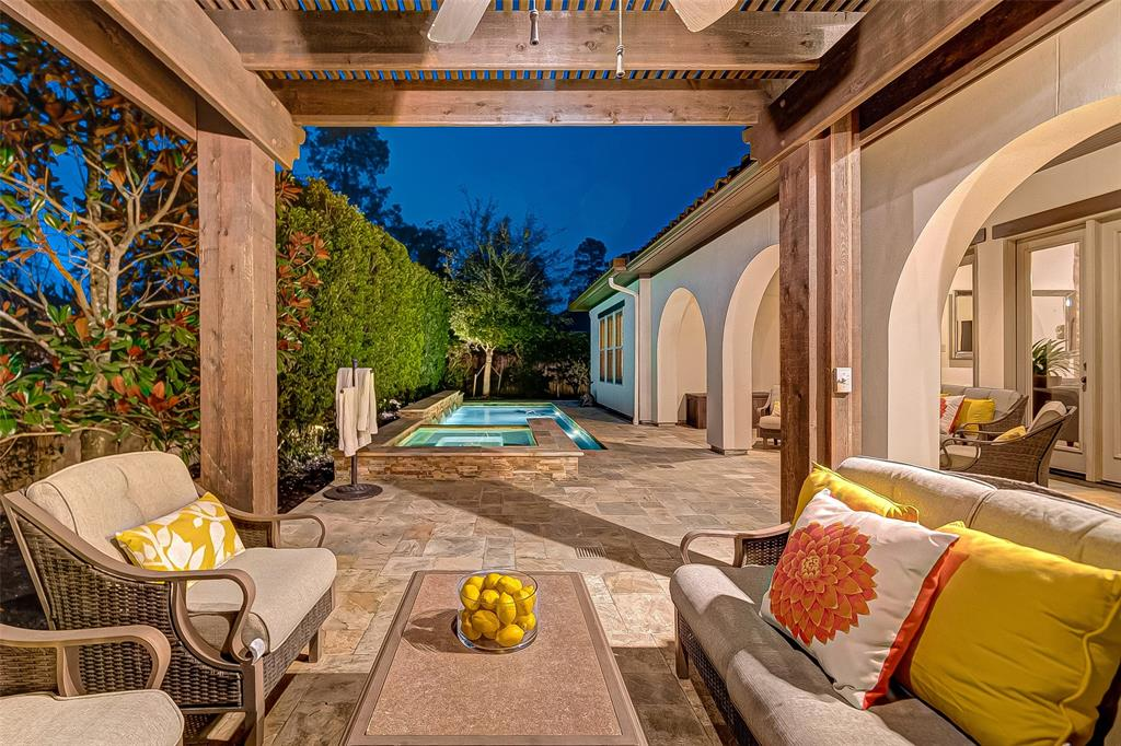 "Breathtaking Mediterranean Darling Home lightly live in, original owner. Covered Porch Leads to Entry through the Interior Courtyard, Charming Private Guest Casita Study, Formal Dining Room open to covered Outdoor Living Area with Fireplace. Hardwood Floors through First Floor. Gourmet Kitchen, Spacious Walk-in Pantry and  Butler's Pantry. Breakfast Room, Family Room with Corner Fireplace. Master Bedroom Downstairs with Fabulous walk-in closet. Upstairs Game Room with Large Covered Deck, 3 bedrooms and 3 Full Baths, Media Room, Wet Bar. Mud Room, Utility Room Storage Area in Split 3 Car Garage. Covered Patio, Outdoor Kitchen with 3 different kind of grills, including a ""Paella "" special grill, Stunning Outdoor Pool and Spa surrounded by big trees for more privacy to make your family never want to leave home!"