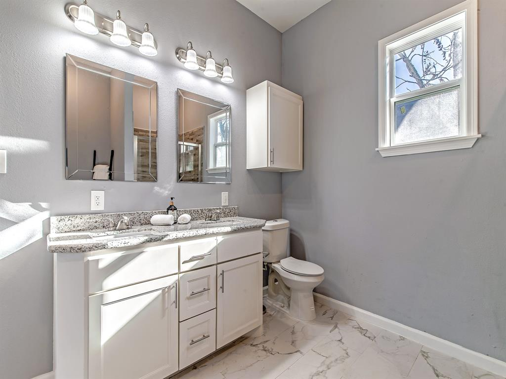 Master bath with double vanity.