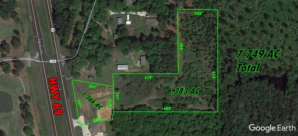 Great parcel of land with 297' of HWY 69 Frontage and over 17K cars passing by daily. Ideal for Industrial, Office, Warehousing, Retail,Outdoor Storage, Mini Storage, RV Park, etc. Outside Tyler City Limits, but inside Tyler ETJ. Owner will consider Sub-dividing.
