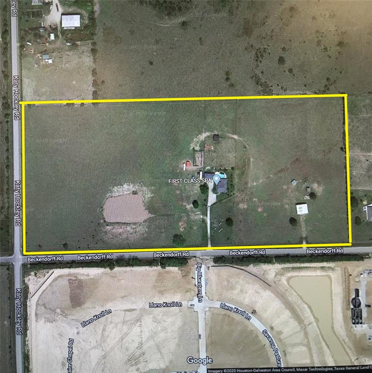 Location, Location, Location! This remarkable 20.4 acres tract has 1400' feet of frontage on Beckendorff Rd (soon to be W. Little York Rd) and 630' hard corner frontage on Katy Hockley Rd. Directly south is the new Katy Crossing Subdivision (Centex Homes, Lennar Homes, etc.). Directly west across Katy Hockley Rd is the new MUD district with plans to build 1000+ new homes. The tract is perfect for commercial development into a strip center with a convenience store/gas station as the anchor store. Property currently has a small 3/2 house with in-ground pool and two 1/1 rental apartments.