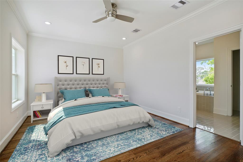You're going to love this master bedroom recessed lighting and beautiful trim. *furniture virtually staged*