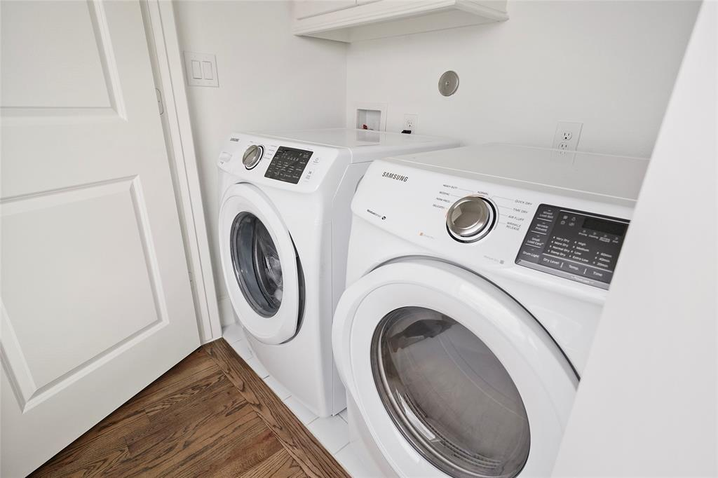 Laundry is located on the same level as the master bedroom.