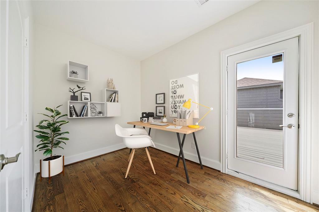On the fourth floor, this flexible space can be used as an office/study, exercise room, or whatever best fits your lifestyle. *furniture is virtually staged*