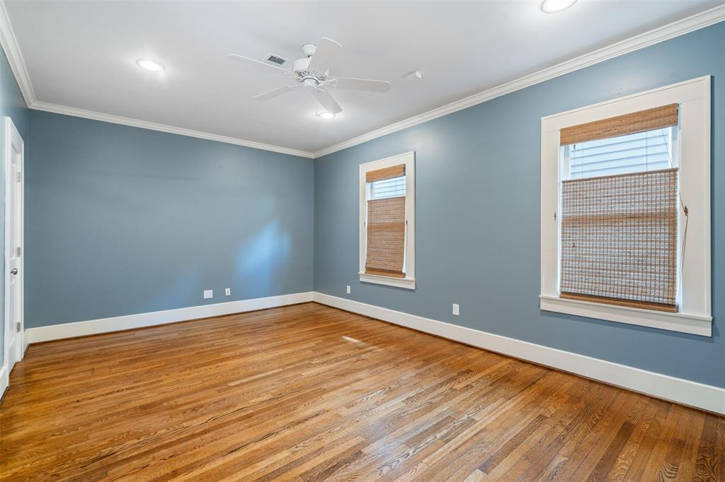 The downstairs bedroom can serve a variety of functions. If needed, it could make a great study. However, if someone in your family has accessibility issues, this could make a great guest/bedroom for them. It also includes a large closet, recessed lighting, and hardwood floors.