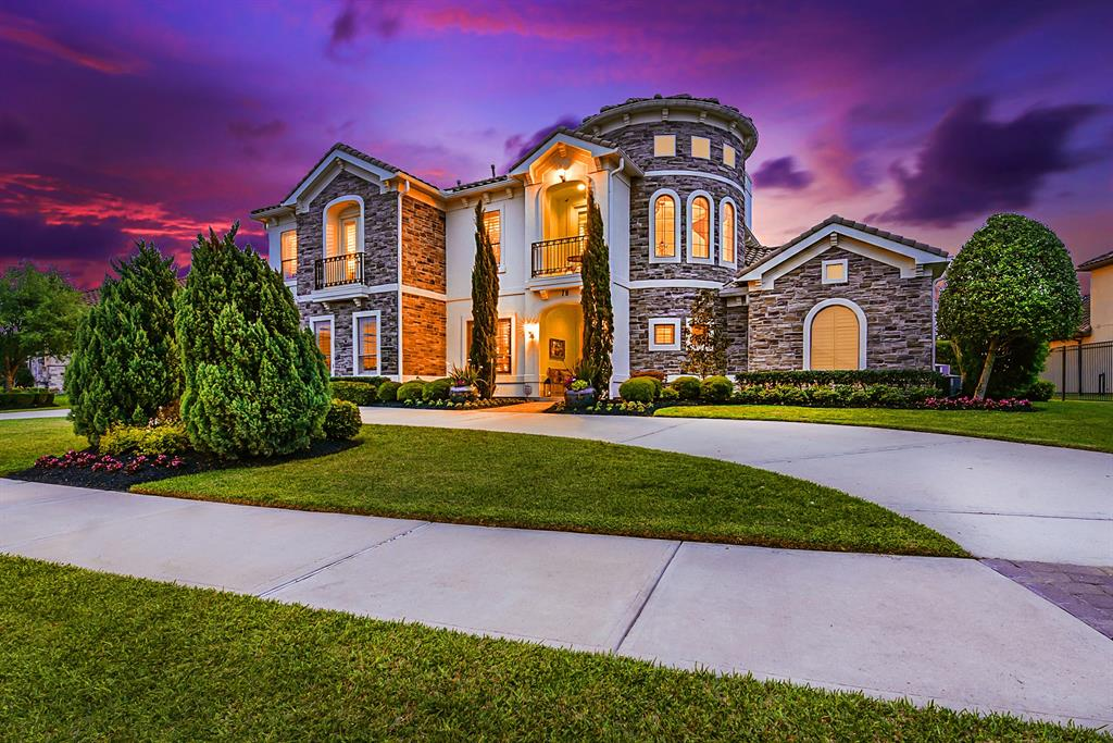 Elegant Kickerillo lakefront Estate situated within the gated Lakes of Cross Creek Ranch provides resort-style living inside and out with multiple balconies, sparkling heated pool, relaxing spa, granite counter outdoor kitchen, front and back facing balconies, and breathtaking views. This majestic Mediterranean abode features 2 Master Suites on the 1st floor, sweeping spiral staircase with hand-painted mural of Tuscany Village beneath the gorgeous rotunda, Stately Home Office, Lofty Formal Living Room, sophisticated Formal Dining Room, Tuscan-inspired kitchen open to casual living area, upstairs game room offering incredible views of your backyard oasis and lake view, multiple balconies, two staircases, and spacious covered patio. Enjoy walking trail and lake access from your own backyard. One of only 5 Kickerillo homes in Cross Creek Ranch. Please take a virtual tour through this beautiful home through the Matterport link and view the complete list of upgrades.