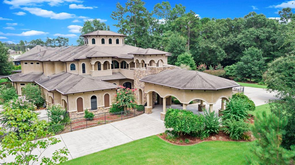 One of the largest lots in Benders Landing on 2 acres features heated pool with waterfalls, slide, spa, lap area, beach entry & lazy river! Outdoor kitchen and 5000 sq ft of covered patios/verandas. Garden area with walking paths and pergolas. Separate water well for exterior watering. Whole house commercial generator. Double winding imperial staircase, rotunda ceilings.Extensive custom millwork & built-ins. Elevator, Surround sound, central vac, 7 zoned HVAC. PEX plumbing w/Manablock.  Formal Living and Dining, Media/storm room, Game, Study, Formal Library and Exercise room. Kitchen with Jenn-Air stainless appls and breakfast room. Family room with fireplace. Utility room with extra storage and mud room area with cubbies.  First floor guest suite with bath. Master with see-through fireplace, huge bath & walk-in shower with dual heads & body sprays. Craft/gaming area. All BR's have walk-in closets & private baths.4 car garage! Fresh paint! 