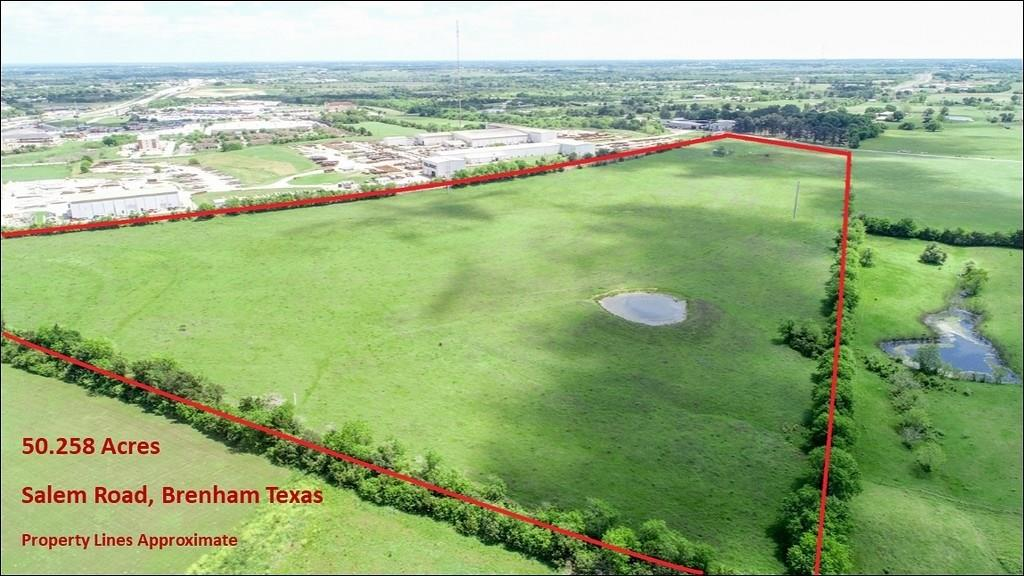 Presenting unique and highly desirable property consisting of 50.258 acres located in the Extraterritorial Jurisdiction of the City of Brenham and less than ½ mile from Hwy. 36 which runs from Freeport to Abilene, and just south of the Hwy 290/Hwy 36 intersection, which is the main Houston/ Austin route.  According to the Brenham Economic Development's Future Land Use Map, the property will be zoned Industrial and has a potential of playing an important role within the Industrial Park Development. According to the same map, the Industrial Blvd. and Longwood Drive will be extended, and will connect to Salem Road. The property has approximately 558 ft of paved frontage on Salem Road and its east boundary borders the railroad tract for approximately 2800 feet. The property has a water well, electricity and a pond. Currently under ag/wildlife exemption. No minerals. Full surface rights.