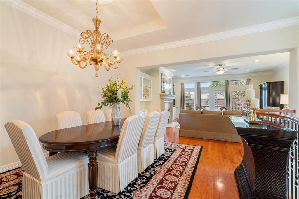 The dining space can easily accommodate an eight-person dining table.