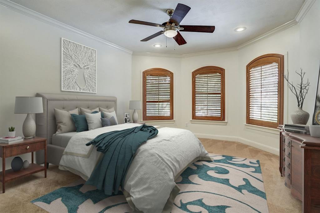 Generous master bedroom. Virtually staged.