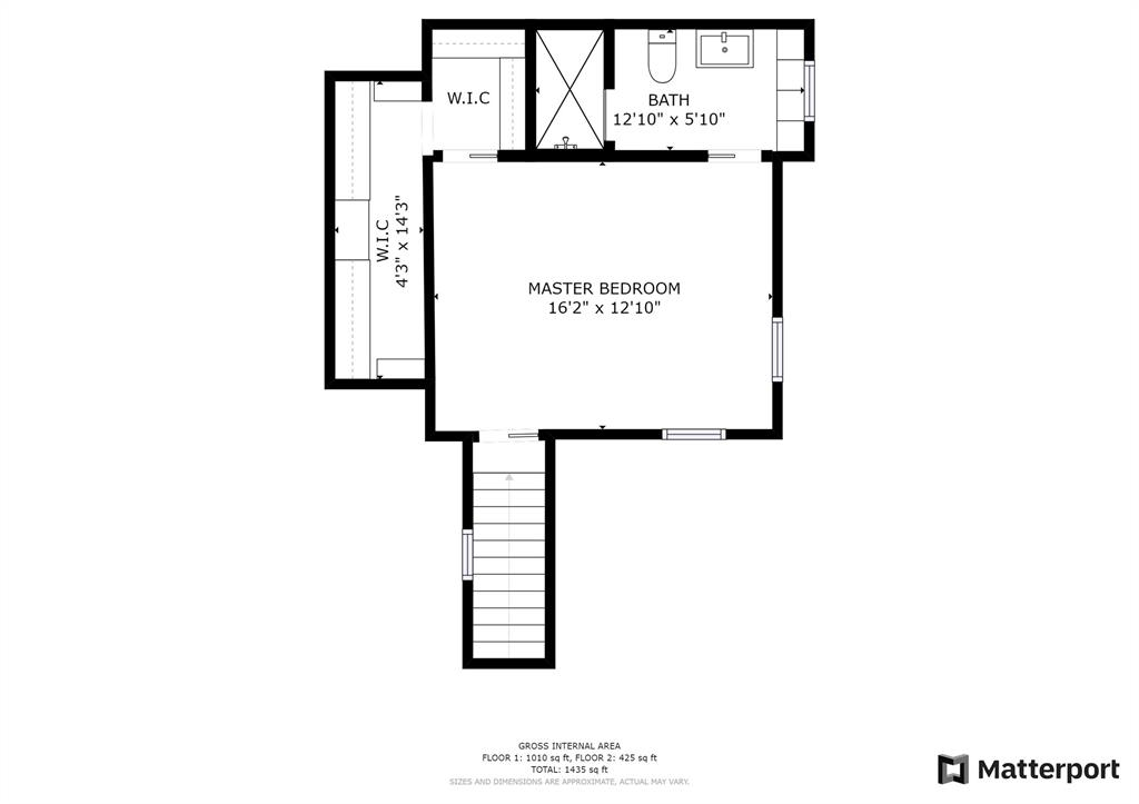 The primary bedroom suite floor plan, including spacious walk-in closet.
