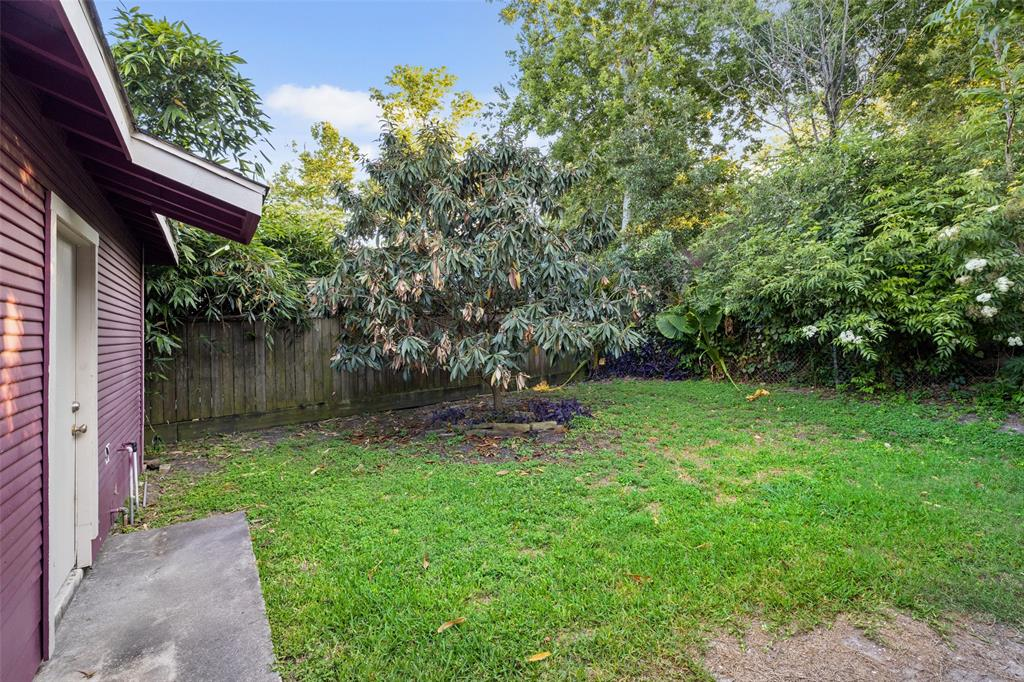 Backyard is fenced and private.
