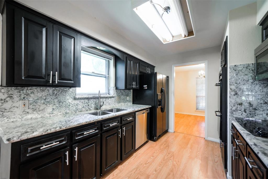 Handsome, shining updated kitchen. Storage for pans etc. Dual sink. SS fridge comes with the house.
