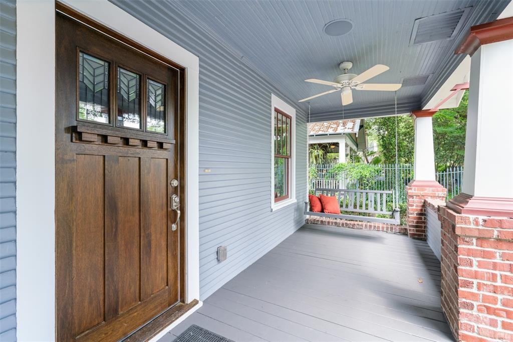 Relax in the afternoon and weekends on this classic Heights front porch. Front porch includes porch swing and it is wired for sound. Per the seller, sound includes 2 speakers and connects to the Control-4 Home Automation system.
