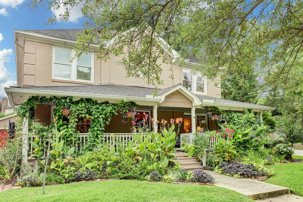 Beautiful, updated historic home close to the Med Center and Rice Village. Stately front porch with swing. Large, open kitchen and breakfast room with stainless appliances, 6 burner stove and vent hood plus pot filler. Hardwood floors. Updated bathrooms, 2 upstairs and full bathroom down. Auto driveway gate, security system and keyless front door entry.