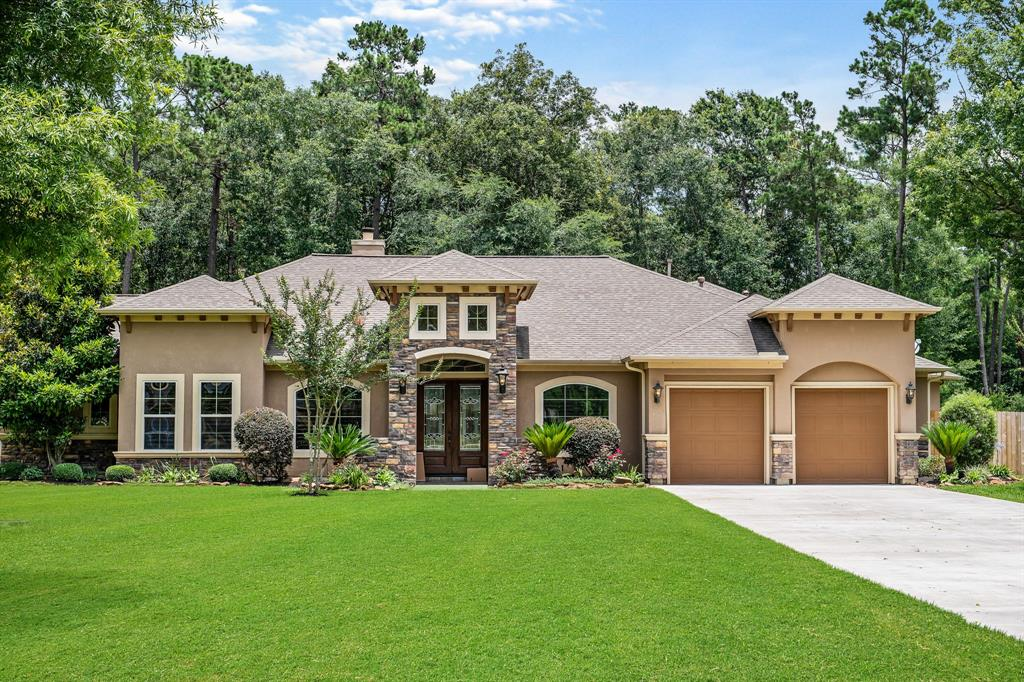 Located in Riverwalk, an acreage community with a private lake & park. Just minutes away from 59 & 99. One story 4 bedroom with 3.5 baths on 1.4 acres with a beautiful backyard oasis. Travertine tile throughout home, art niches, soaring ceilings and tone of other high-end features. Be sure to check out the Master Suite with a panoramic sitting area. Large patio with built in outdoor kitchen, that overlooks the private backyard. Built in Mosquito system to help you enjoy the beautiful pool/spa with an amazing waterfall waiting for you to call it home.