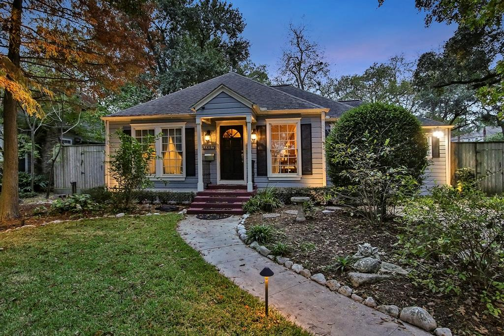 Beautifully remodeled home in Garden Oaks sits on a 13,680 square foot lot (per HCAD) and is just steps from the park. Mature shade trees rest in the front and back yards. Updated kitchen is open to the family room and dining has granite counters, glass front cabinets, apron sink, wine chiller, and separate ice maker under the wet bar. The fabulous master retreat offers a walk-in shower with double shower heads, separate soaking tub, separate vanities. A beautiful sitting/dressing area connects two large walk-in master closets with built-ins and custom storage such as glass front tie cabinets, hidden shoe racks, huge dressing mirrors, etc. The backyard features a tranquil pool with rock and water features. The 48 foot covered porch, with its iron railing has a New Orleans feel, is the perfect spot to overlook the pool and patios. This is an awesome home for entertaining. Walking distance to park, restaurants, and retail.