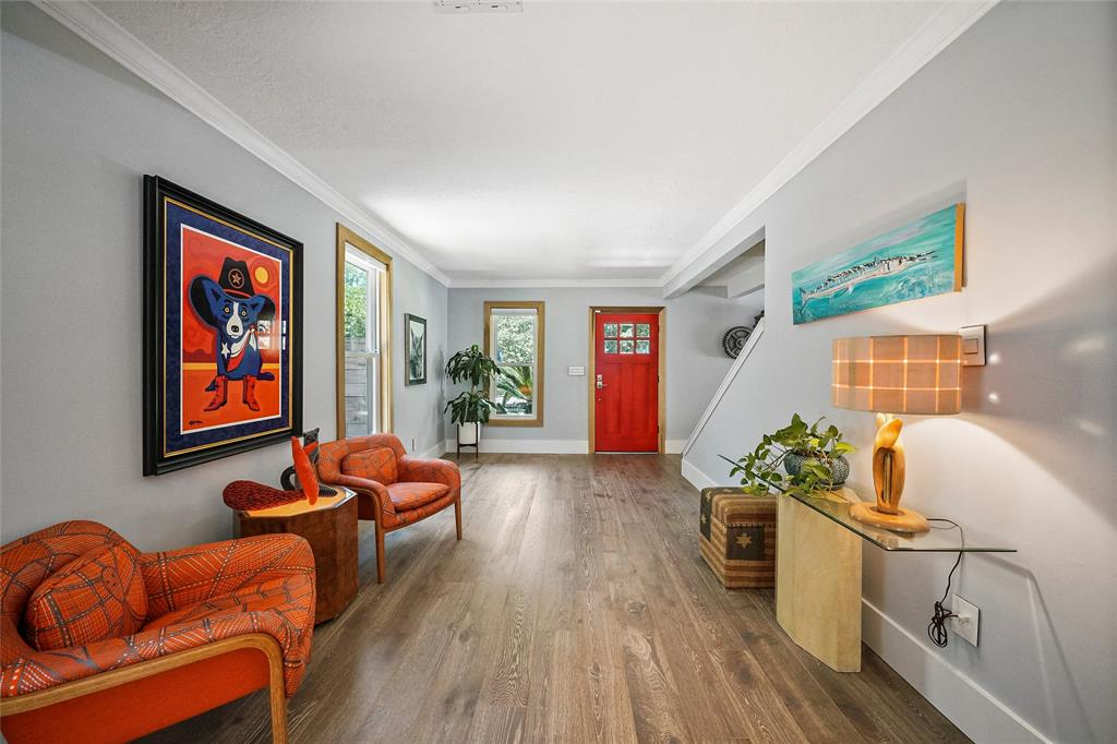 Looking back into the open spaces. Touches of bold colors to add character and identity to the home.