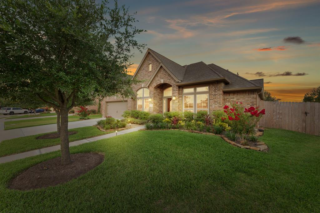Nestled inside the largest master planned community in Pearland, this beautiful 1 story Shadow Creek Ranch home sits on the edge of Lake Linda on an impressive 13,382sf lot. A stunning interior of 3319sf is comprised of 4 bdrms & 3 full baths as well as a study, formal dining & media/game room. The fabulous open floorplan makes it the perfect home for entertaining. Create your chef inspired meals in the state of the art island kitchen while you mingle with your guests - whether they are in the formal dining room or den. Afterwards, relax under the spacious covered back patio. Very hard to find a 1 story home with enough yard left to build a pool - yet this one definitely has the space! Built in 2015, 3 car garage, tile floors, granite counters & an abundance of architectural details! Right around the corner from both Glenn York Elem & McNair JH. Zoned to the state champion football team at Shadow Creek HS. Easy access to 288 & BW8 - only approx 10 miles from Med Center.  See us today!