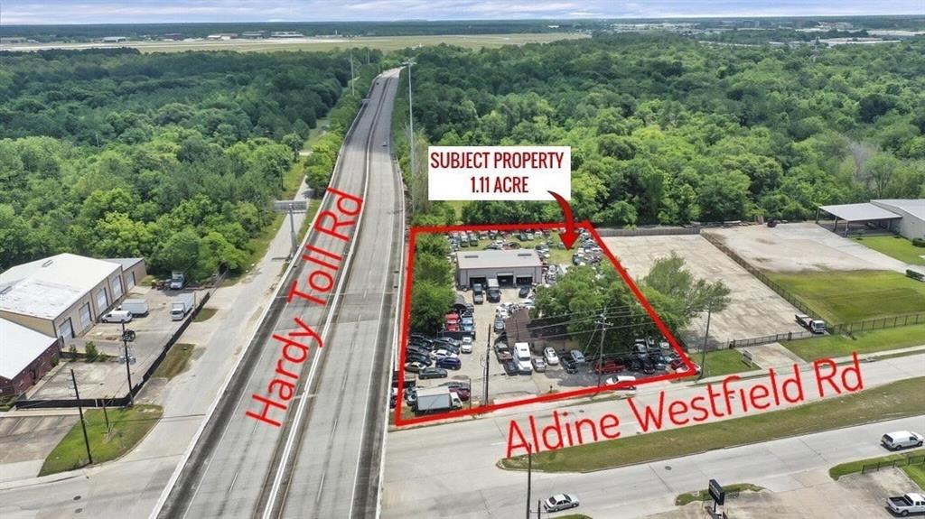 Commercial industrial mixed use property located by Hardy Toll Rd and Aldine Westfield Rd. Close proximity to Beltway 8, George Bush Aiport, Lochinvar Golf Course. Lot size 1.11 acre. Improvement includes single family home structure 1628 sq ft and a warehouse 2400 sq ft in the back are used as office for used car dealership. Income from rental $2560 per month until Jan 2023. Public water sewer. The shop has utility electricity and water. Not in Floodplain.